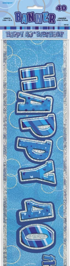 Blue Glitz 'Happy 40th Birthday' Banner